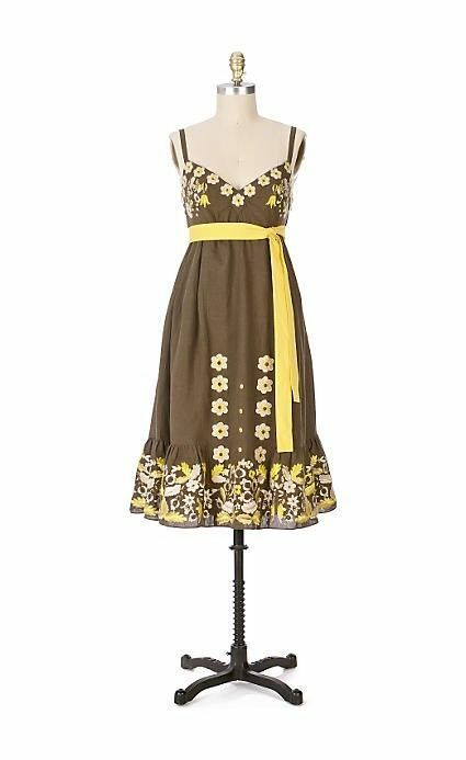 NEW Anthropologie Lithe Ryegrass Dress Embroidered Linen Floral Brown SZ 6P