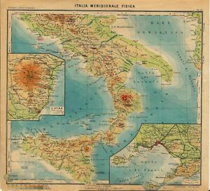 Cartina Fisica Del Libano.Carta Geografica Antica Italia Meridionale Fisica Paravia 1941 Old Antique Map Ebay
