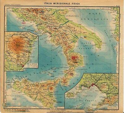 Cartina Geografica Norvegia Fisica.Carta Geografica Antica Italia Meridionale Fisica Paravia 1941 Old Antique Map Ebay