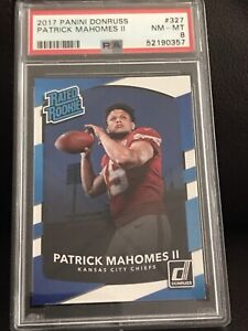 Patrick Mahomes II ROOKIE CARD 2017 Donruss Rated Rookie RC #327 PSA 8 NM-MINT