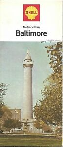 1965-SHELL-OIL-Washington-Monument-Road-Map-BALTIMORE-Maryland-Annapolis-Towson