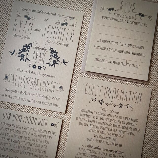 Rustic Fl Handmade Wedding Invites Day Evening Vintage Recycled Kraft Sample