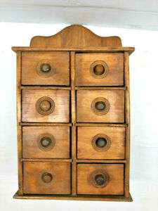 Details About 16 12 Antique 8 Drawer Wall Hanging Wooden Spice Box Kitchen Cabinet