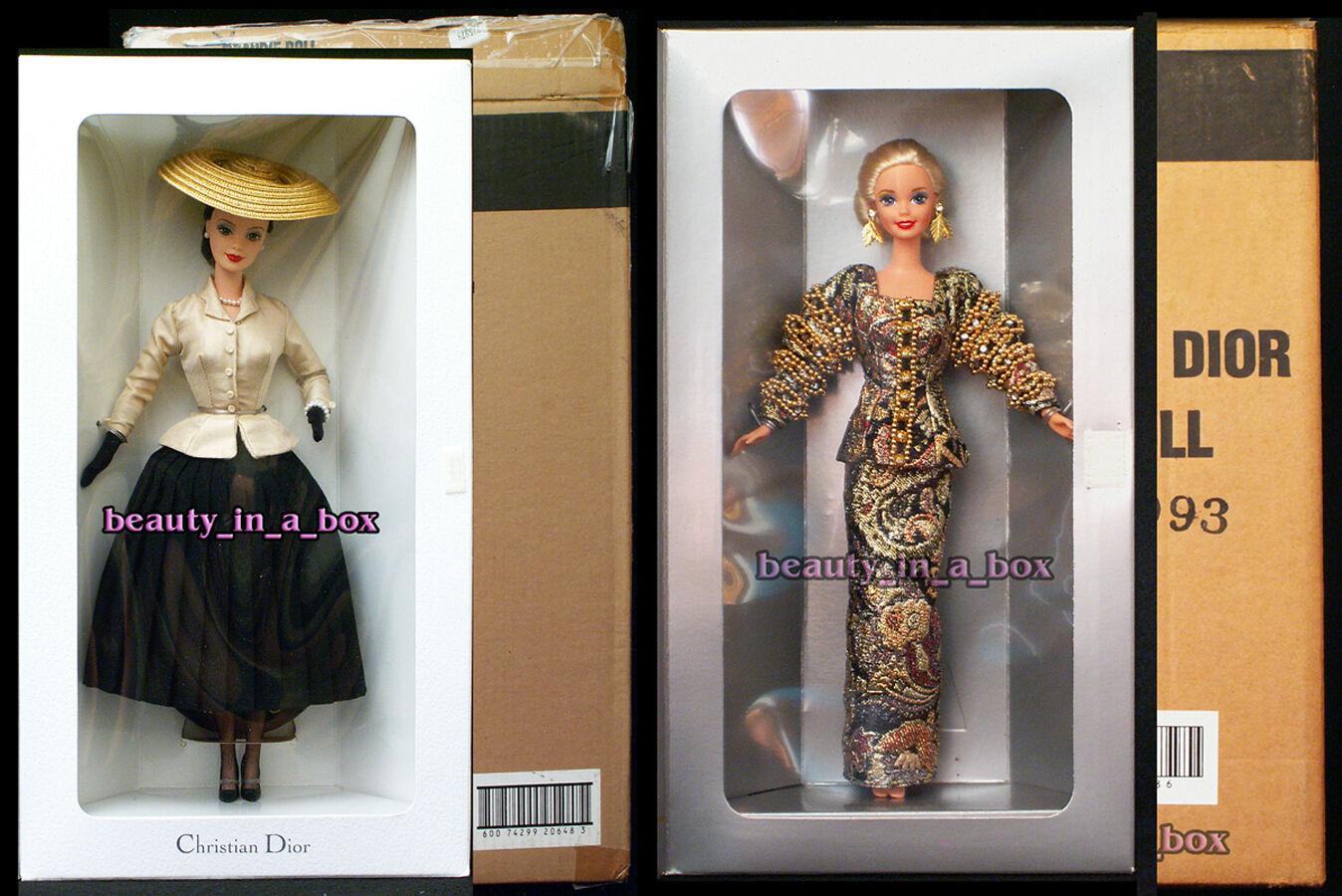 Muñeca Barbie Christian Dior diseñador de París 1995 y 1997 Mattel embarcador  Lote 2