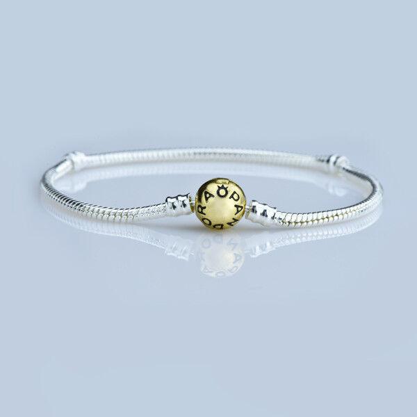 8-1/4'' 21cm Gold Clasp Silver Snake Chain Bracelet Fit European Charm Bead