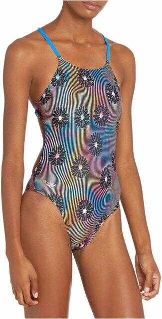 Speedo Women's Swimsuit One Piece Endurance Turnz Tie Back, Blue Lemonade, Size