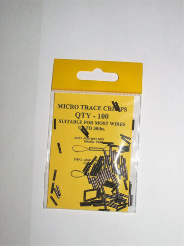 Micro Trace Crimps Pack of 100 Suitable for Wires Up To 30lbs Coarse Fishing