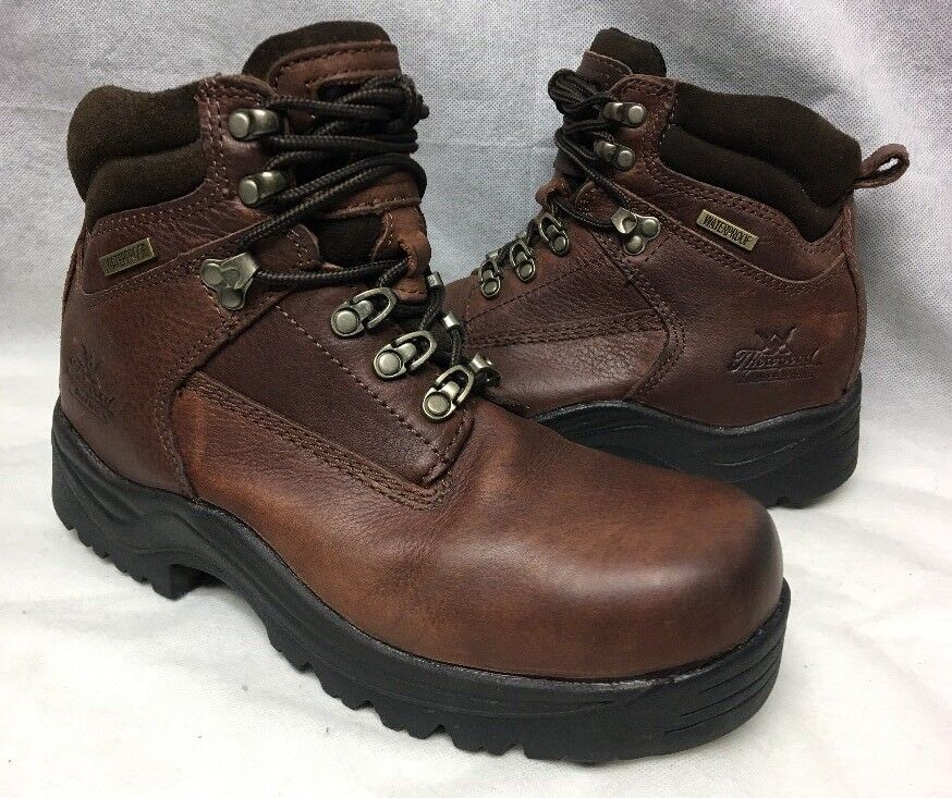Thgoldgood Waterproof Leather Comp Safety Toe Work Boot Men's 6 Brown 804-4900