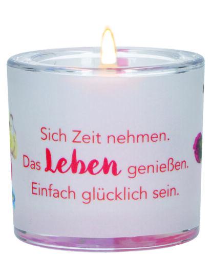 Windlicht Glas Heidi Rose Glück Teelicht Geschenkverpackung Pergamentumleger