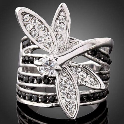 Dragonfly Agate Autrichien Cristal Zircon 18K Or Plaqué Femme Fashion Party Ring