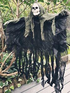Halloween 4ft Hooded Skeleton Hanging Horror Skull Ghoul Decoration