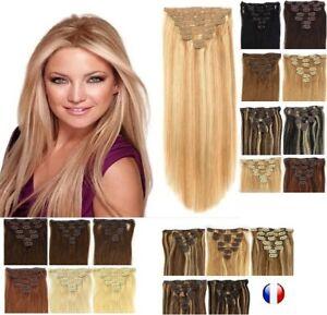 Extension-A-Clips-Cheveux-100-naturels-Remy-Lisses-Naturel-60cm-49cm-85g-125g