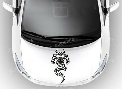 Car Front Hood Body Graphic Vinyl Sticker Decal Devils Evil Ghost Black 17 1/2""
