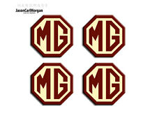 MG TF Alloy Wheel Centre Caps Badges Burgundy & Cream 45mm Hub Badge 4 Pack