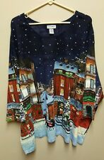 Catherines 5X 34 36W Christmas Winter Snow Scenery top shirt 100% Cotton Sequins