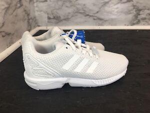 buy online 69fd4 04434 Details about Adidas ZX Flux J White Textile Athletic Kids Shoes Size 13K