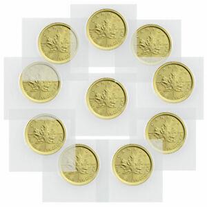Lot of 10 2021 Canada 1/10 oz Gold Maple Leaf $5 Coins GEM BU