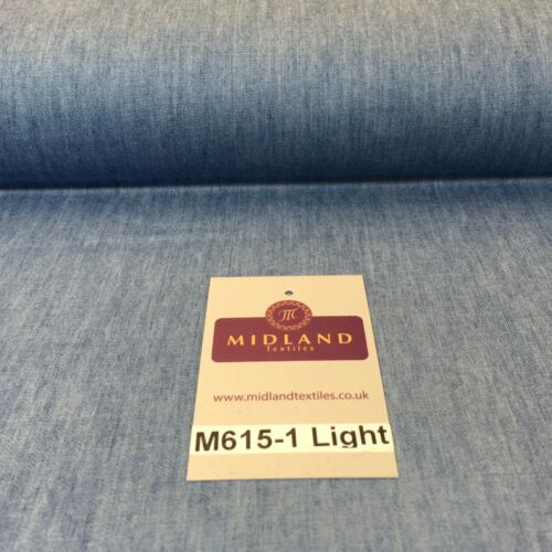 4oz Washed Denim Light-medium-dark blue 100/% Cotton Fabric 146cm wide  M615 Mtex