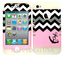 KoolKase Hybrid Silicone Cover Case for Apple iPhone 4 4S - Chevron Anchor 01