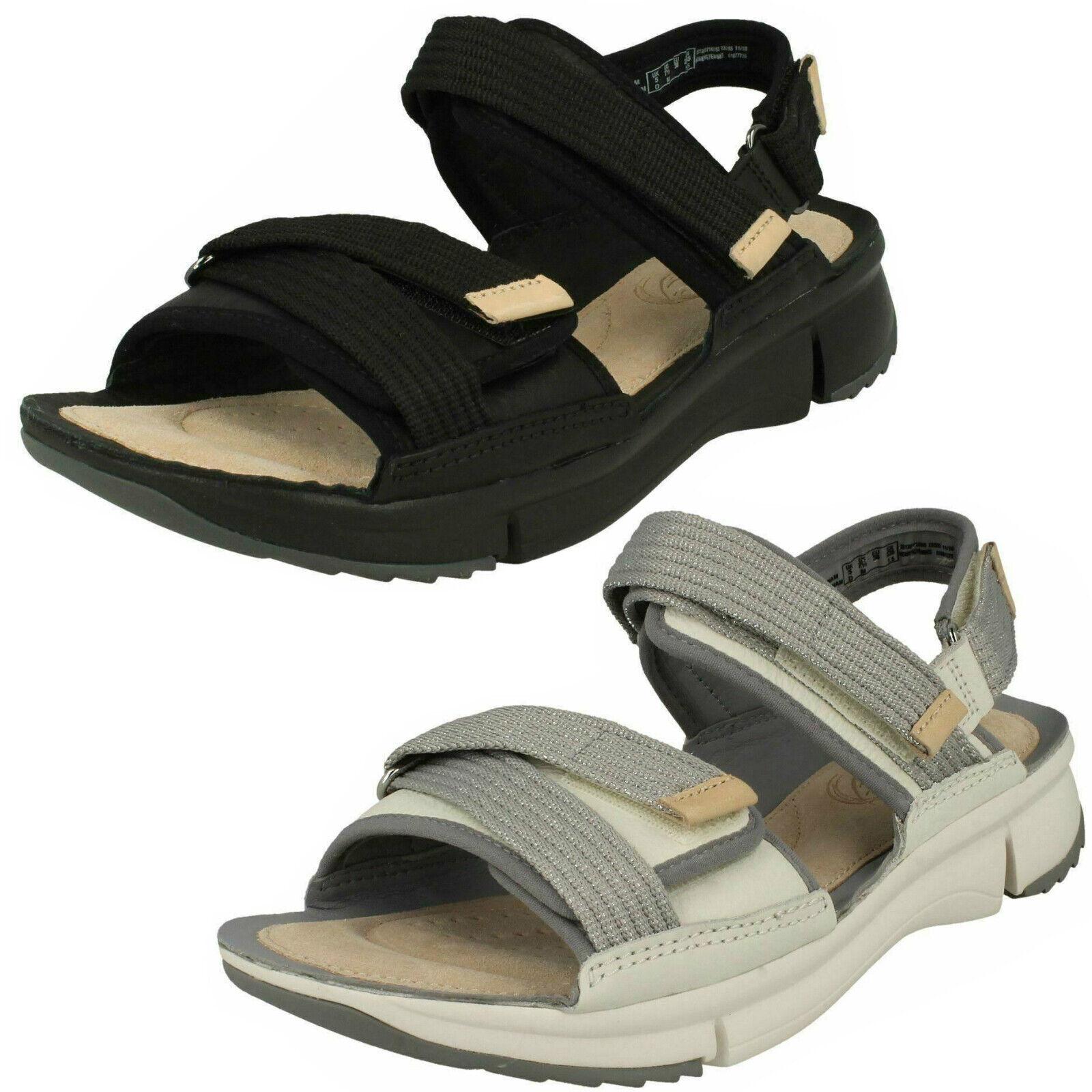 Femmes Clarks Tri Walk Noir Ou Blanc Cuir Sandales Casual-D Fitting