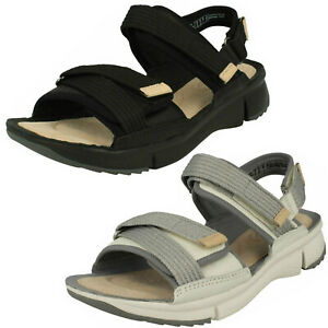 95c68529b Ladies Clarks Tri Walk White Or Black Leather Casual Sandals - D ...