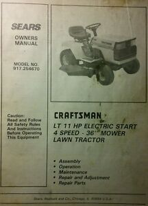 sears craftsman lt 11 4 36 riding lawn tractor mower owner parts rh ebay com Craftsman Lawn Tractor Owner Manuals Craftsman Lawn Mower Owners Manual
