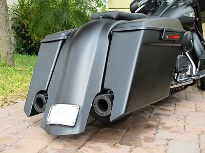 """Touring Stretched Harley 6/"""" Inch Slope Rear fender Dual Exhaust Cuts 97-08 Flh"""