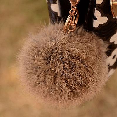 Rabbit Fur Ball PomPom Cell Phone Car Keychain Handbag Charms Key Ring Pendant