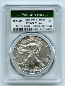 2020-P-1-American-Silver-Eagle-Emergency-Issue-PCGS-MS69-First-Day-of-Issue