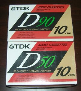 20-sealed-NIB-vintage-TDK-D-50-90-min-normal-bias-Tape-for-Cassette-deck