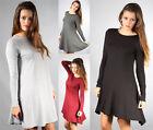 New Womens Ladies Long Sleeve Plain Stretch Flared Swing Dress Short Size 8-14