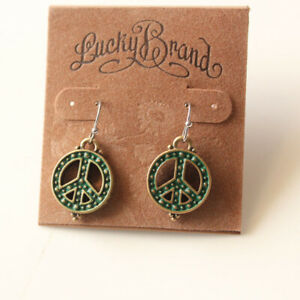 New-Lucky-Brand-Peace-Sign-Drop-Dangle-Earrings-Gift-Vintage-Women-Party-Jewelry