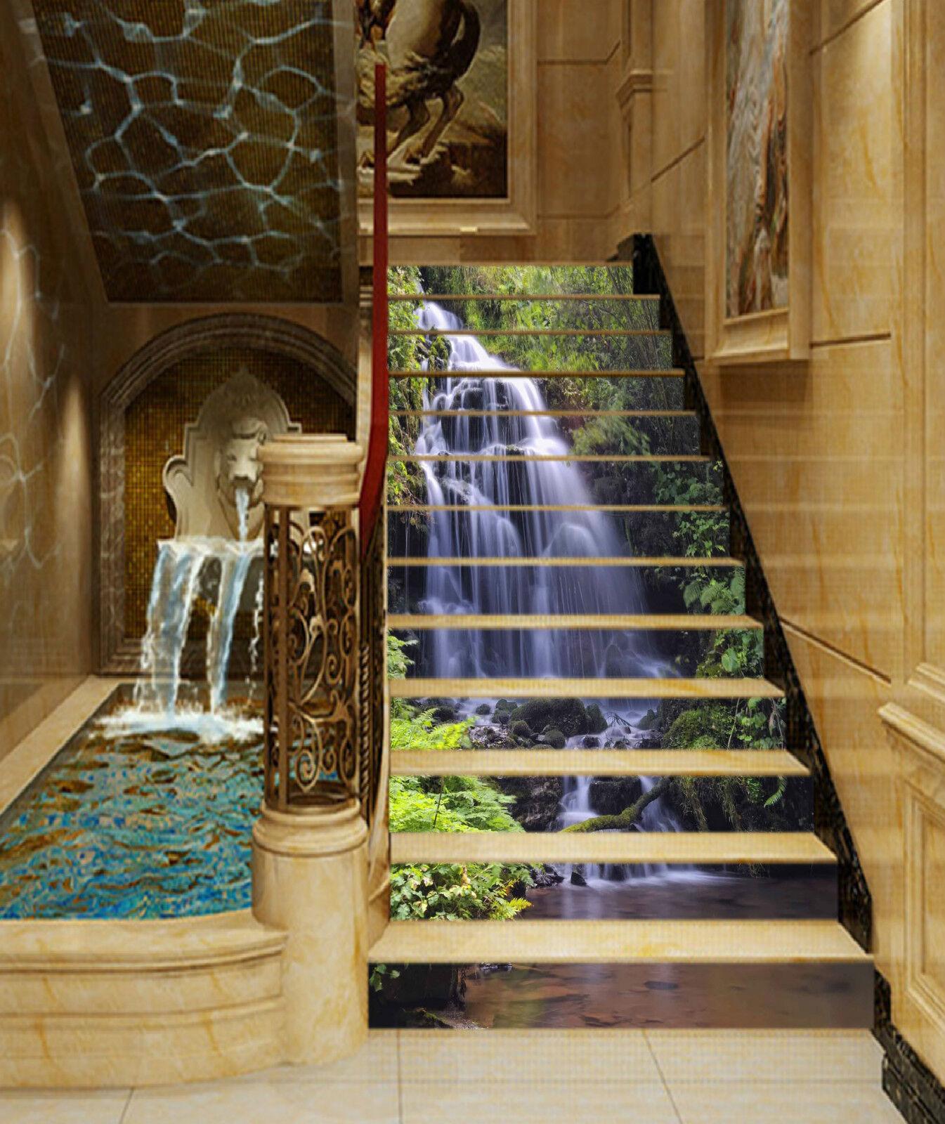 3D Wasserfall 3191 Stair Risers Dekoration Fototapete Vinyl Aufkleber Tapete DE