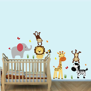Image Is Loading Jungle Animal Wall Decals Stickers Safari Boys