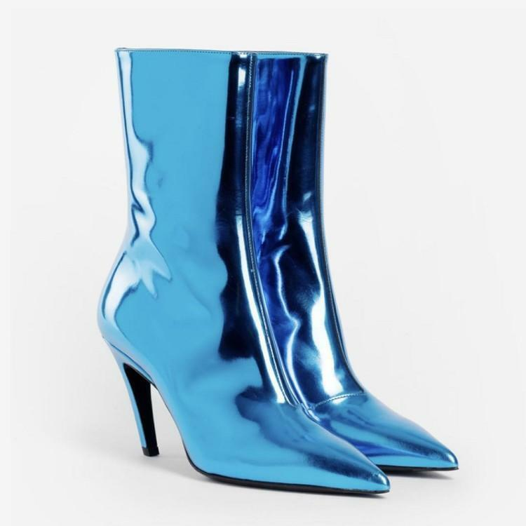 Women High Stilettos Heels Shiny Leather Ankle Boots Pointy Toe Calf shoes Party
