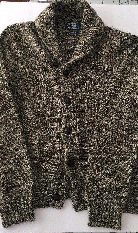 Polo Ralph Lauren Sweater Cardigan S HeatheROT Grau Olive Cream Shawl 100 Cotton