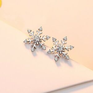 Fashion-925-Silver-Snowflake-White-Topaz-Ear-Stud-Earrings-Jewelry-Hotsale