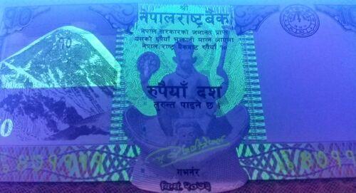 Nepal P77 coin // black buck temple 10 Rupee UNC Mt Everest UV /& w//m images