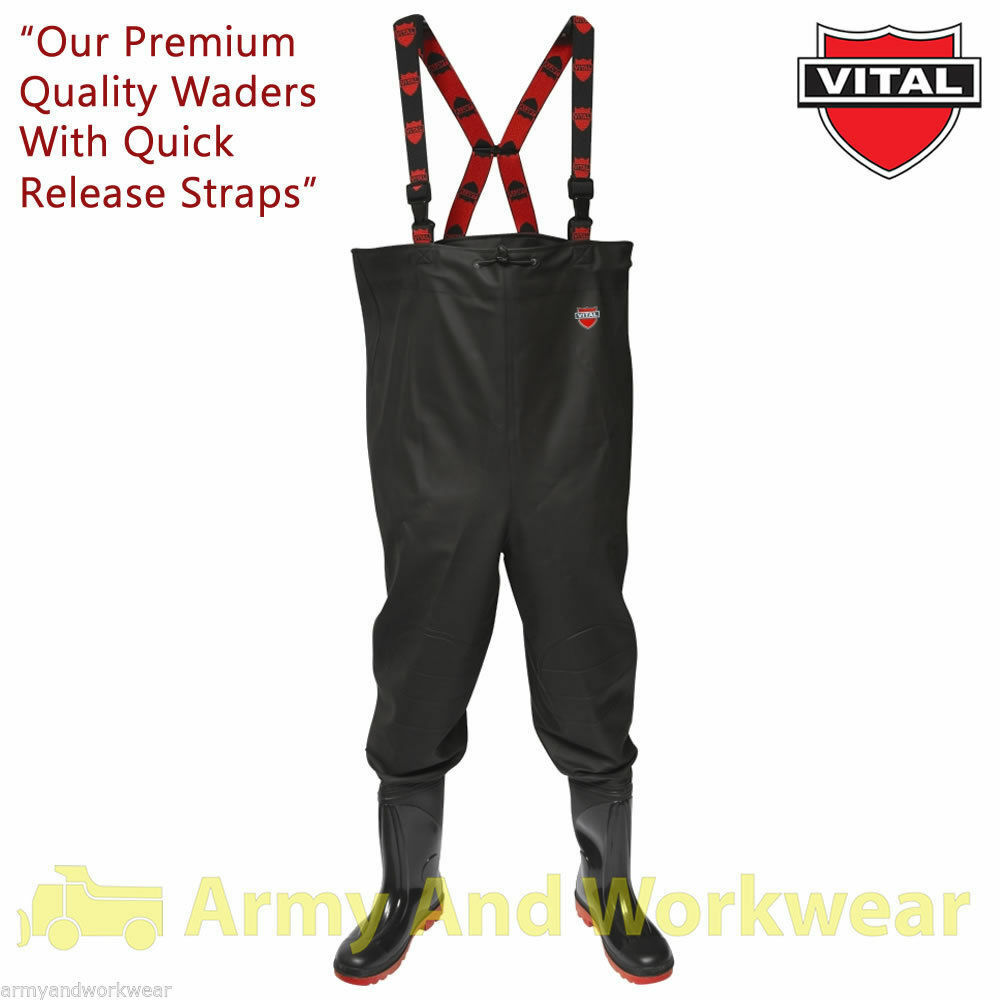 Vital VW163R River Chest Safety Wader Nylon Lined Waterproof Midsole PVC Waders