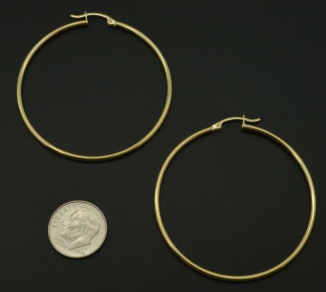 "2mm X 40mm 1 1//2/"" Diamond Cut Round Hoop Earrings Real 14K Yellow Gold 1.60gr"