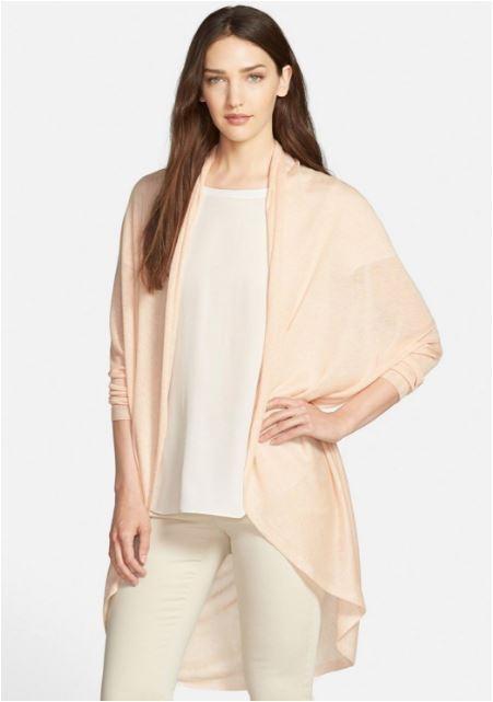 Eileen Fisher Alabaster Sleek Tencel Merino Knit Cocoon Cardigan M