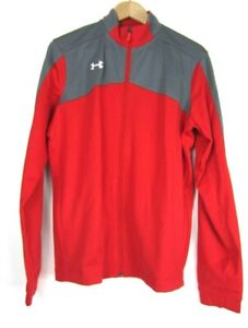 Under Armour Womens Red Gray Full Zip Loose Fit Warm Up Jacket Size Medium