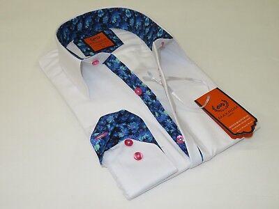 Men Makrom London Turkey Shirt Wrinkle Free Cotton Mix 6241 Black White Music