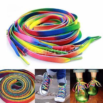 2pairs 110 x 0.8cm Rainbow Multi-Colors Flat Boot Shoe Laces Shoelaces Strings
