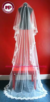 One Tier White Cathedral Chapel Wedding Bridal Veil 3M FREE P&P