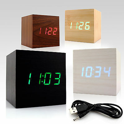 USB Digital LED Mini Wooden Wood Desktop Alarm Clock Voice Control Thermometer