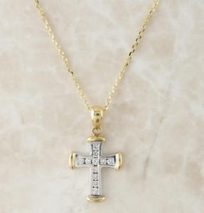 Collar de diamantes 9ct-Oro amarillo y blanco 9ct Cadena Colgante Cruz De Diamantes