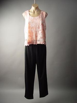 Pink Lace Top Black Dress Pant Suit Work Party Plus 185 mv Jumpsuit 1XL 2XL 3XL