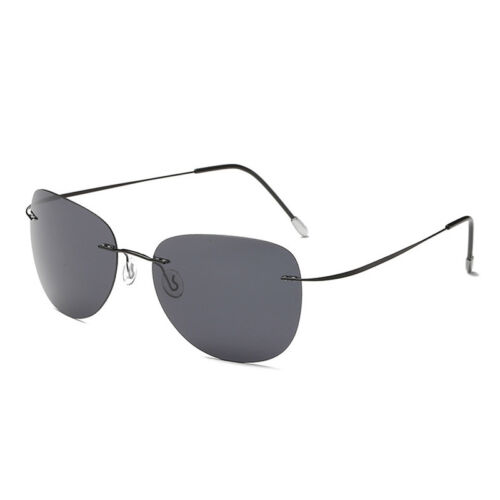 Unisex Polarized Sunglasses Titanium Alloy Rimless Frame Aviator Glasses Driving
