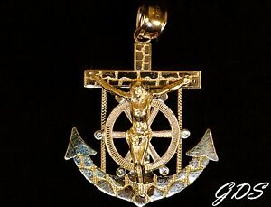 10K Yellow Gold Nugget Cross with White Jesus Crucifixion Pendant